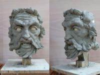 sculpture en terre pour la marionnette de Poseidon