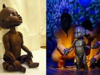 """Marionnette du personnage de Kirikou pour la comédie musicale """" Kirikou et Karaba """" . Tête en résine et corps en mousse de polyurétanne injectée ."""