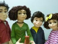 marionnettes type muppet en mousse , avant finition en peinture.
