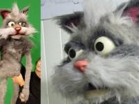 Un chat en mousse et fourrure. Créé avec moving puppet, pour une publicité pour le sucre Daddy. Production Moving puppet
