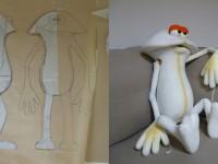 Etape en mousse de la fabrication d'une marionnette