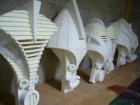 Les masques des fétiches en construction. Fabriqués avec Jean Christophe Leblanc.
