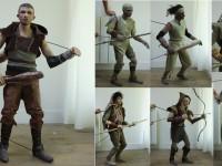 les sept differents personnages créés à partir du même modelage