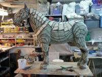 Etude et tracé des lignes, sur la sculpture en mousse polyuréthanne originale de Sylvain Bossut